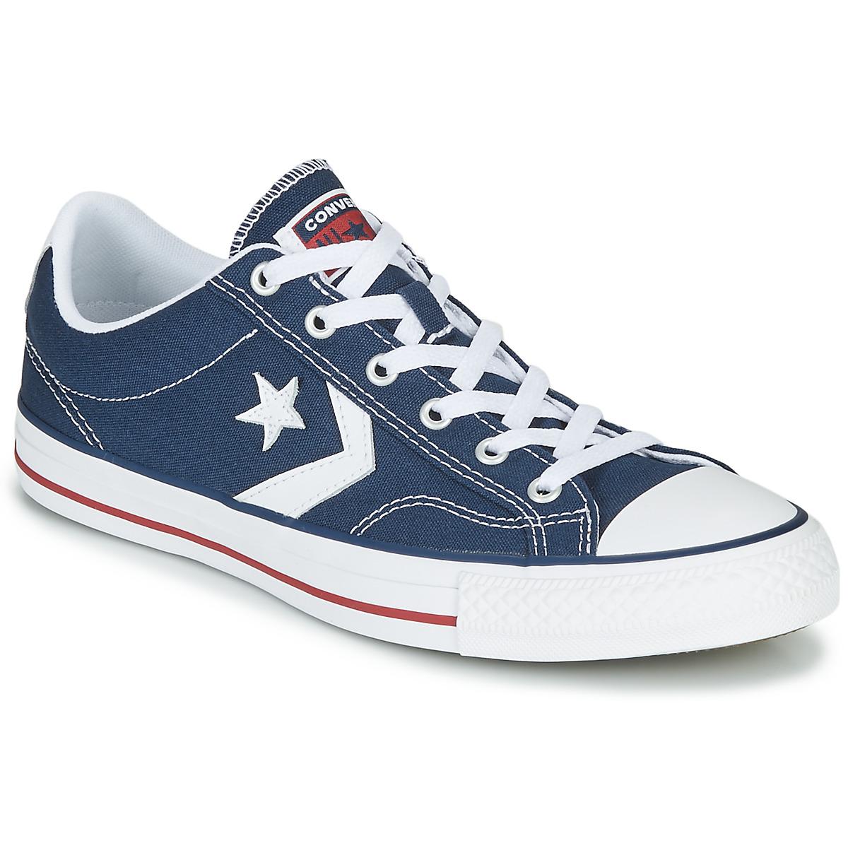 Converse STAR PLAYER CORE CANVAS OX Marine / Weiss - Kostenloser Versand bei Spartoode ! - Schuhe Sneaker Low  51,99 €