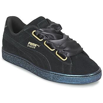 Schuhe Damen Sneaker Low Puma BASKET HEART SATIN WN'S Schwarz
