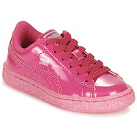 Schuhe Mädchen Sneaker Low Puma BASKET PATENT ICED GLITTER PS Rose