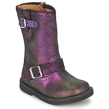 Schuhe Mädchen Klassische Stiefel Pom d'Api HIKE BIKER Violett