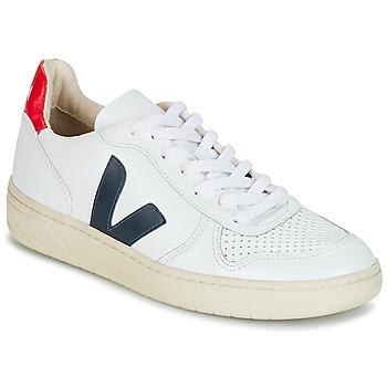 Schuhe Sneaker Low Veja V-10 Weiss / Blau / Rot