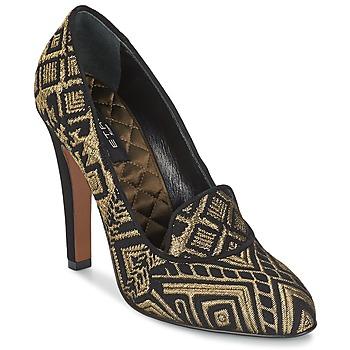 Schuhe Damen Pumps Etro 3055 Schwarz / Goldfarben