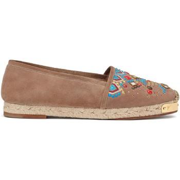 Schuhe Damen Leinen-Pantoletten mit gefloch Giuseppe Zanotti E66084002 Marrone chiaro