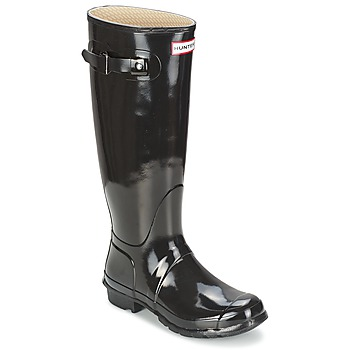 Schuhe Damen Gummistiefel Hunter WOMEN'S ORIGINAL TALL GLOSS Schwarz
