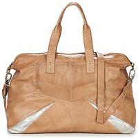 Taschen Damen Umhängetaschen Pieces JACE LEATHER TRAVEL BAG Cognac / Silbern