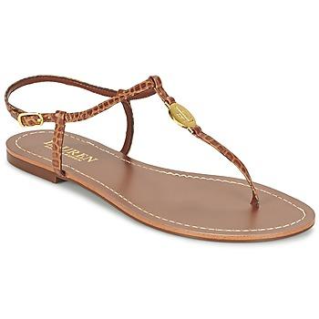 Schuhe Damen Zehensandalen Ralph Lauren AIMON SANDALS CASUAL Camel