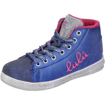 Schuhe Mädchen Sneaker High Lulu schuhe bambina ' sneakers blau textil silber wildleder AH227 blau