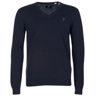 Kleidung Herren Pullover Gant WEIGHT COTTON V NECK Marine