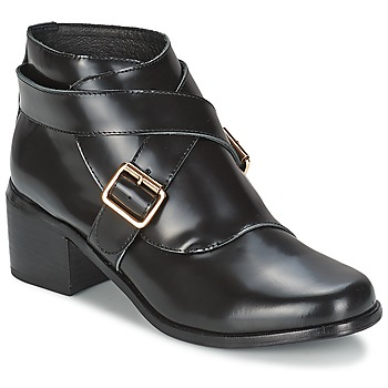 Schuhe Damen Low Boots F-Troupe Double Buckle Boot Schwarz