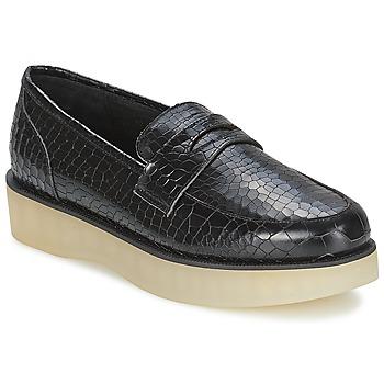 Schuhe Damen Slipper F-Troupe Penny Loafer Schwarz