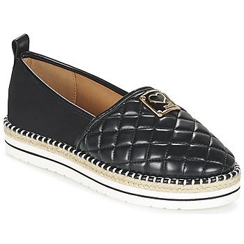 Schuhe Damen Leinen-Pantoletten mit gefloch Love Moschino JA10093G13 Schwarz