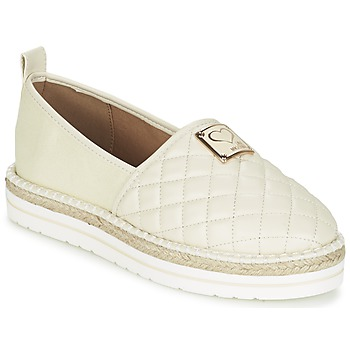 Schuhe Damen Leinen-Pantoletten mit gefloch Love Moschino JA10093G13 Creme