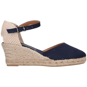 Schuhe Damen Leinen-Pantoletten mit gefloch Fernandez 682  5c bleu