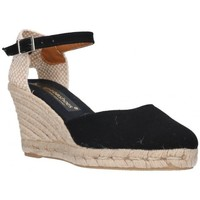 Schuhe Damen Leinen-Pantoletten mit gefloch Fernandez 682 noir