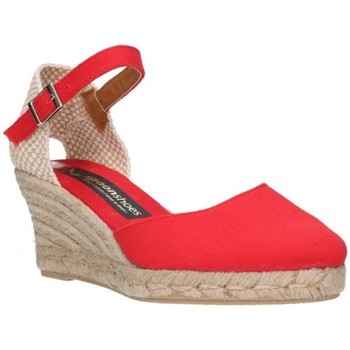 Schuhe Damen Leinen-Pantoletten mit gefloch Fernandez 682  5c - Rojo rouge