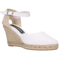 Schuhe Damen Leinen-Pantoletten mit gefloch Fernandez 682 blanc