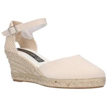 Schuhe Damen Leinen-Pantoletten mit gefloch Fernandez 682 beige