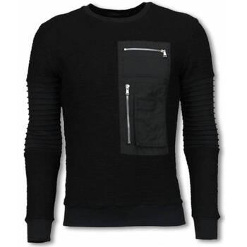 Kleidung Herren Sweatshirts Justing Rippe Arm Mit Kevlar Pocket Sweateshirt Schwarz