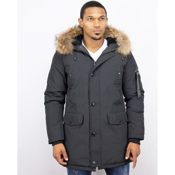 Kleidung Herren Parkas Enos Winterjacke Lange Jacke Mit Fellkragen Großer Pelzkragen Parka Schwarz