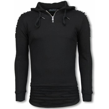 Kleidung Herren Sweatshirts Justing Rippe Shoulder Long Hoodie Schwarz