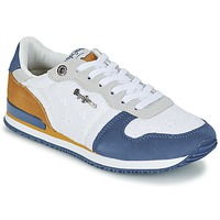 Schuhe Damen Sneaker Low Pepe jeans GABLE ANGLAISE SOUL Weiss / Blau / Grau