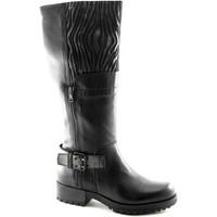 Klassische Stiefel Café Noir CAF NOIR GH131 schwarze Stiefel 3/4 Frau Biker Leder 2 Reißversc