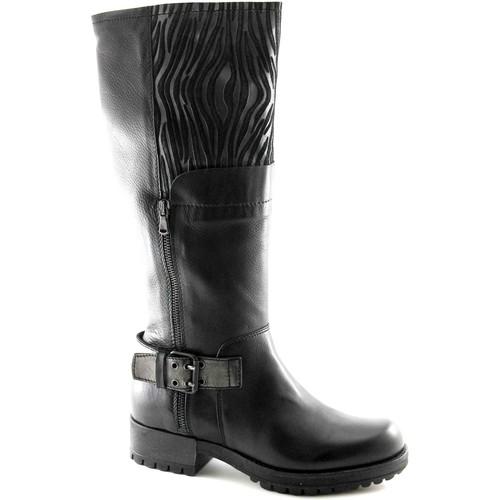 Schuhe Damen Klassische Stiefel Café Noir CAF NOIR GH131 schwarze Stiefel 3/4 Frau Biker Leder 2 Reißversc Nero