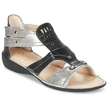 Schuhe Damen Sandalen / Sandaletten Dorking ODA Schwarz / Silbern