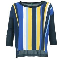 Kleidung Damen Pullover Benetton OVEZAK Blau / Gelb / Weiss