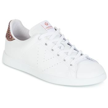 Schuhe Damen Sneaker Low Victoria DEPORTIVO BASKET PIEL Weiss / Rose / Glitterfarbe