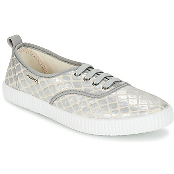 Schuhe Damen Sneaker Low Victoria INGLES TEJ PLACA SERPIENTE Silbern