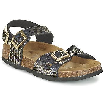 Schuhe Mädchen Sandalen / Sandaletten Betula Original Betula Fussbett JEAN Schwarz / Gold