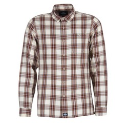 Kleidung Herren Langärmelige Hemden Dickies HARRELL Weiss / Braun
