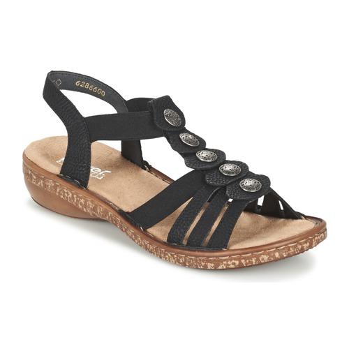 Schuhe Damen Sandalen / Sandaletten Rieker MECHAROLO Schwarz