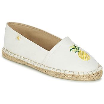 Schuhe Damen Leinen-Pantoletten mit gefloch Le Temps des Cerises CANCUN Weiss