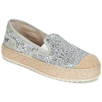 Schuhe Damen Leinen-Pantoletten mit gefloch Mustang FRIO Silbern