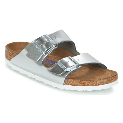 Schuhe Damen Pantoffel Birkenstock ARIZONA SFB Silbern