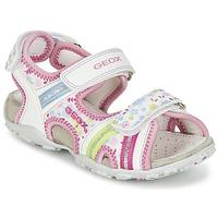 Schuhe Mädchen Sportliche Sandalen Geox J S.ROXANNE A Weiss / Rose