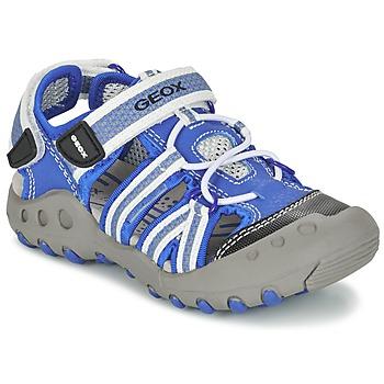 Schuhe Jungen Sportliche Sandalen Geox J SAND.KYLE C Blau / Weiss