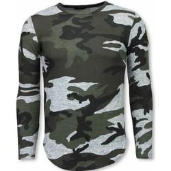 Kleidung Herren T-Shirts Justing Armee Druck Lange Ärmel Long Grün