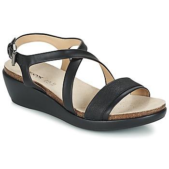 Schuhe Damen Sandalen / Sandaletten Geox D ABBIE A Schwarz