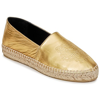 Schuhe Damen Leinen-Pantoletten mit gefloch Kenzo TIGER METALIC SYNTHETIC LEATHER Gold