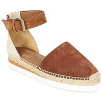 Schuhe Damen Leinen-Pantoletten mit gefloch See by Chloé SB26150 Braun