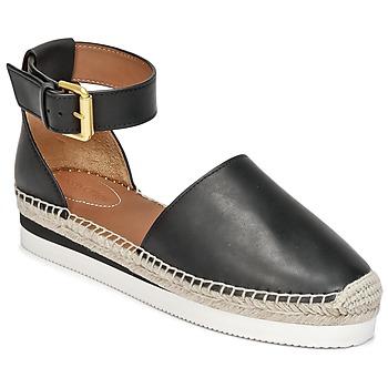 Schuhe Damen Leinen-Pantoletten mit gefloch See by Chloé SB26150 Schwarz