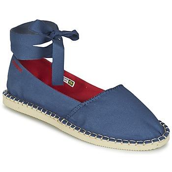 Schuhe Damen Leinen-Pantoletten mit gefloch Havaianas ORIGINE SLIM Blau