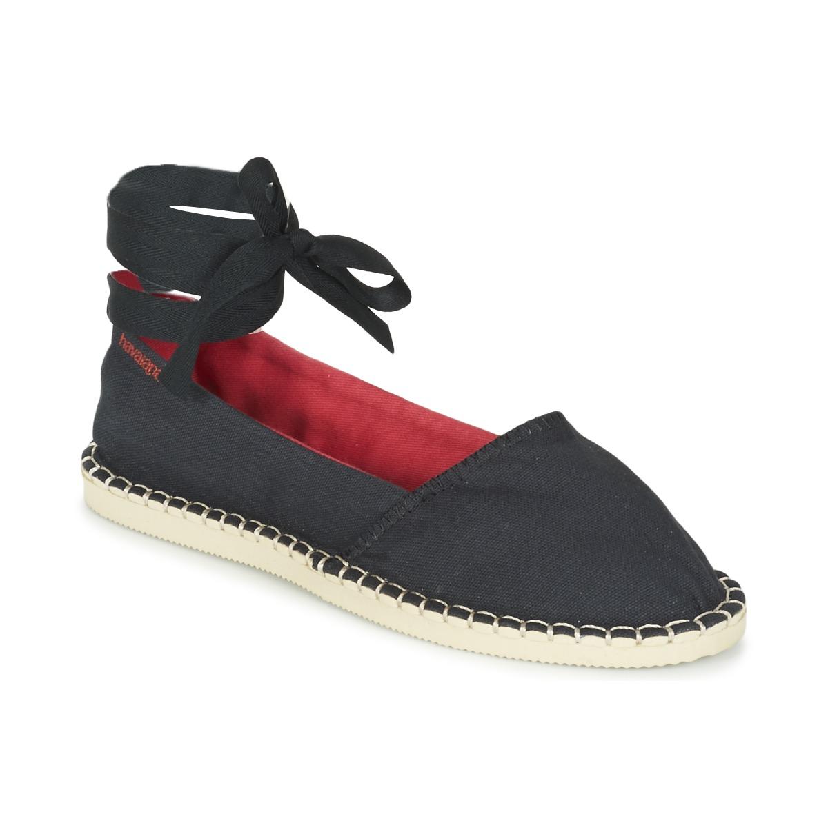 Havaianas ORIGINE SLIM Schwarz - Kostenloser Versand bei Spartoode ! - Schuhe Leinen-Pantoletten mit gefloch Damen 35,99 €