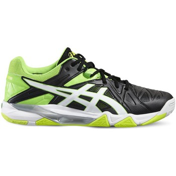 Schuhe Herren Sneaker Low Asics Gelsensei 6 Schwarz-Weiß-Grün