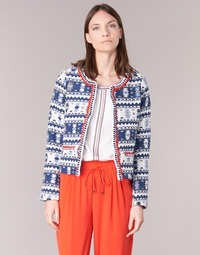 Kleidung Damen Jacken / Blazers Molly Bracken BERIP Marine / Weiss / Orange