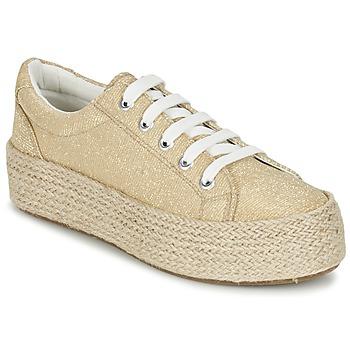 Schuhe Damen Leinen-Pantoletten mit gefloch Café Noir ROVIKO Gold