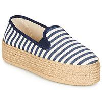 Schuhe Damen Leinen-Pantoletten mit gefloch Betty London GROMY Marine / Weiss